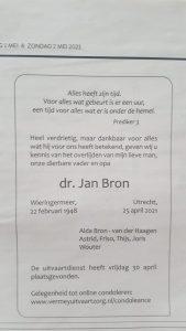 Jan Bron overleden