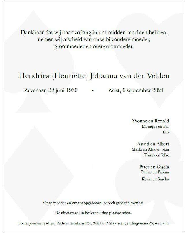 In memoriam Henriëtte van der Velden